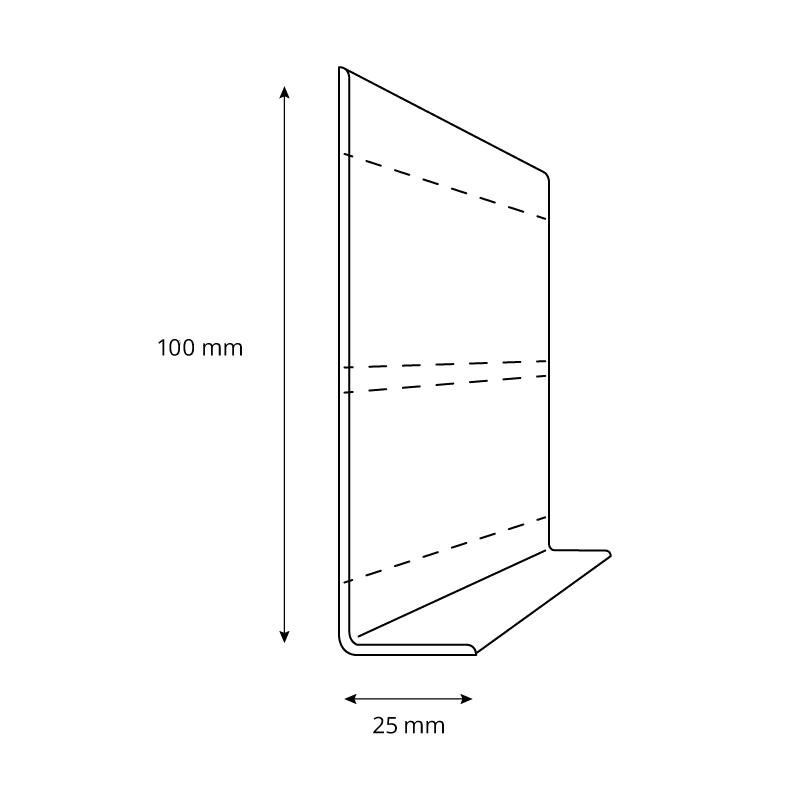 Listwa przypodłogowa miękka PVC 100x25mm marki HOLZBRINK - rysunek techniczny