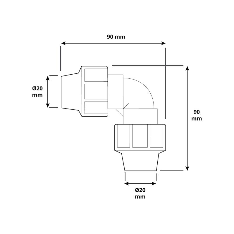 Kolano HBZ-11 marki HOLZBRINK - rysunek techniczny