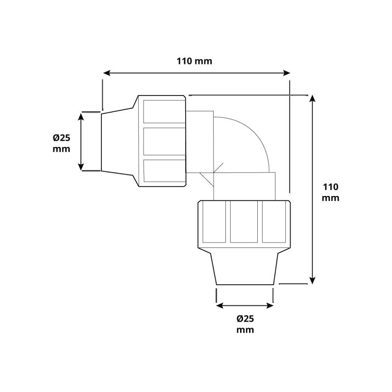 Kolano HBZ-12 marki HOLZBRINK - rysunek techniczny