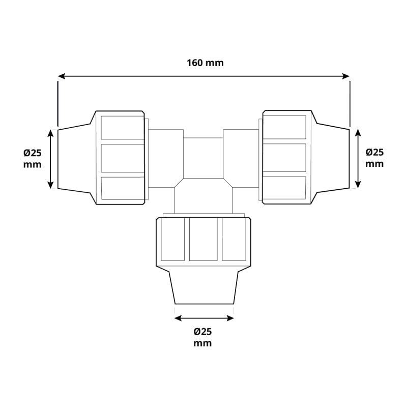 Trójnik HBZ-13 marki HOLZBRINK - rysunek techniczny