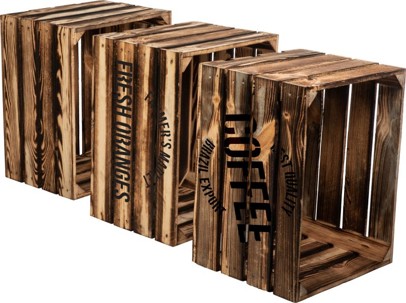 Skrzynka drewniana opalana z szablonem Holzbrink