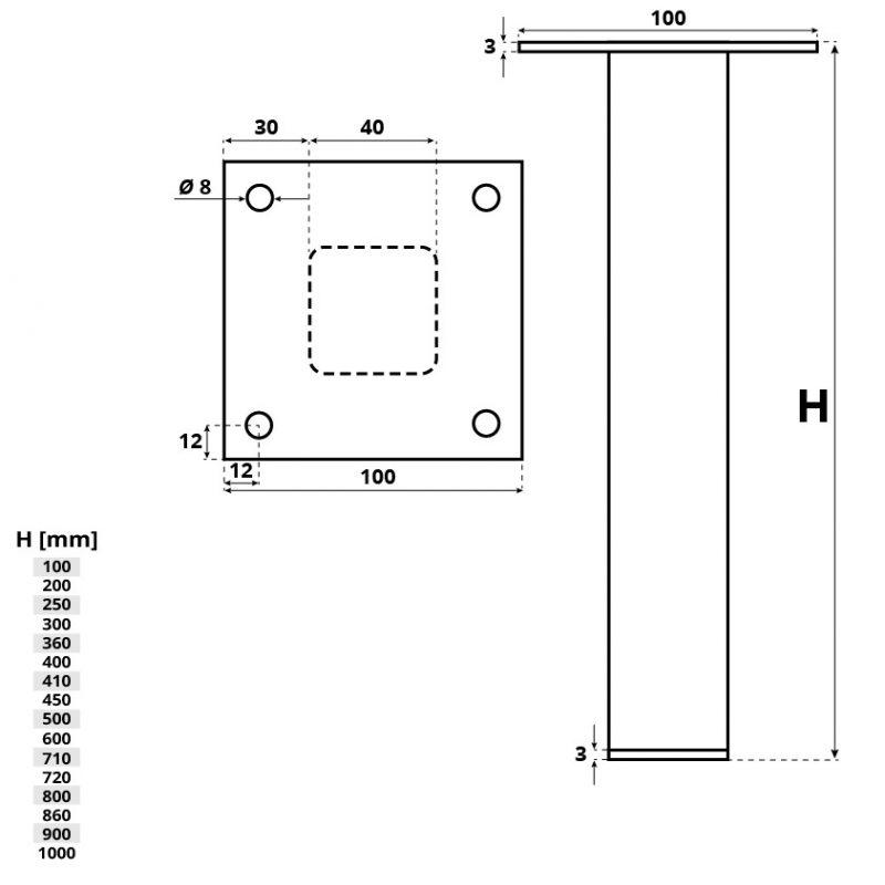 Tischkufe HLT-14A-F Holzbrink - Tech