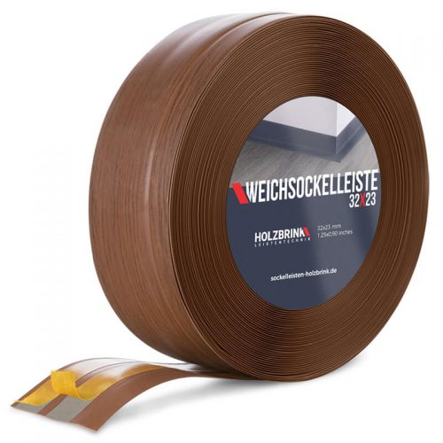 Weichsockelleiste PVC Eiche Dunkel 32x23mm Holzbrink