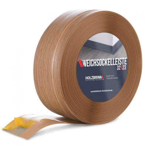Weichsockelleiste PVC Eiche Hell 32x23mm Holzbrink