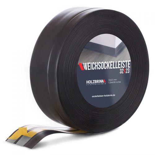 Weichsockelleiste PVC Schwarz 32x23mm Holzbrink