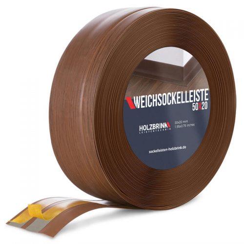 Weichsockelleiste PVC Eiche Dunkel 50x20mm Holzbrink