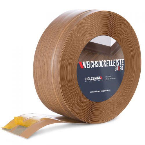 Weichsockelleiste PVC Eiche Hell 50x20mm Holzbrink