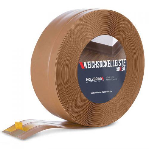 Weichsockelleiste PVC Karamell 50x20mm Holzbrink