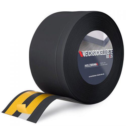 Weichsockelleiste PVC Schwarz 100x25mm Holzbrink