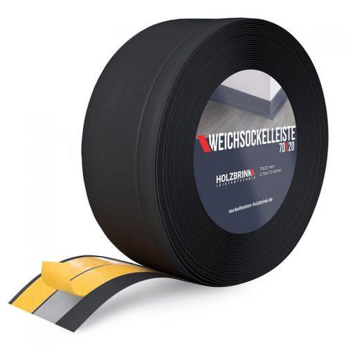 Weichsockelleiste PVC Schwarz 70x20mm Holzbrink