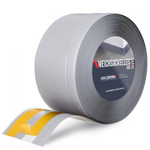 Weichsockelleiste selbstklebend PVC Grau 100x25 mm