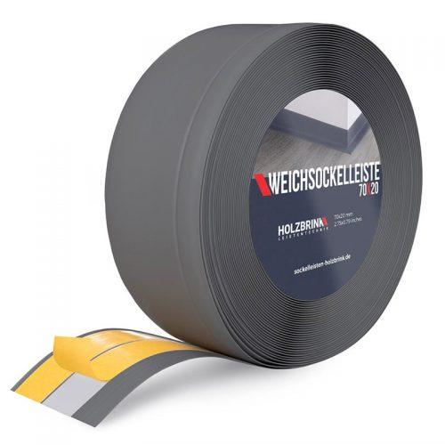 Weichsockelleiste PVC Graphitgrau 70x20 mm mit Kleber